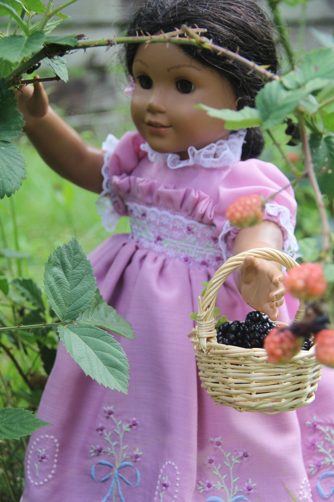 "Josphina's blackberrying adventure. Custom embroidered dress for a 18"" doll. Stitching with Elli design"