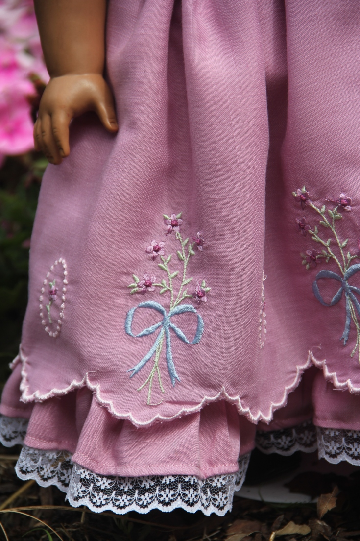 "Scalloped Kathy Harrison (custom keepsakes) border design on a gorgeous 18"" doll dress"