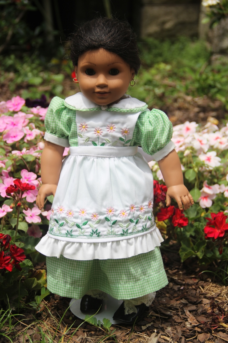 "Gardening Apron for 18"" on American girl. Dress made by Stitching with Elli"