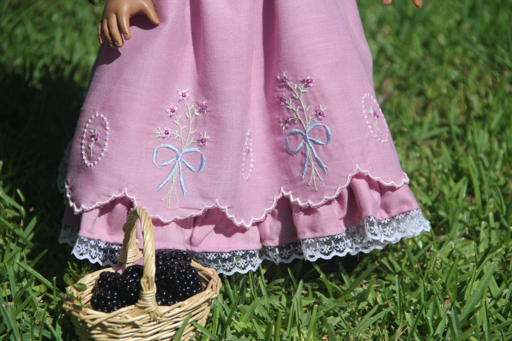 "Gorgeous ruffles on machine embroidered dress for 18"" doll"