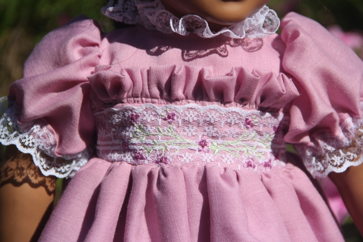 "Detailed bodice on one of a kind embroidered dress for a 18"" doll."
