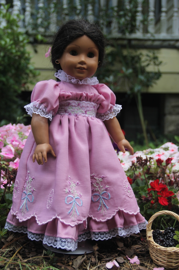 "Gorgeous lilac Dress created by Stitching with Elli. Will fit any 18"" doll or american girl"