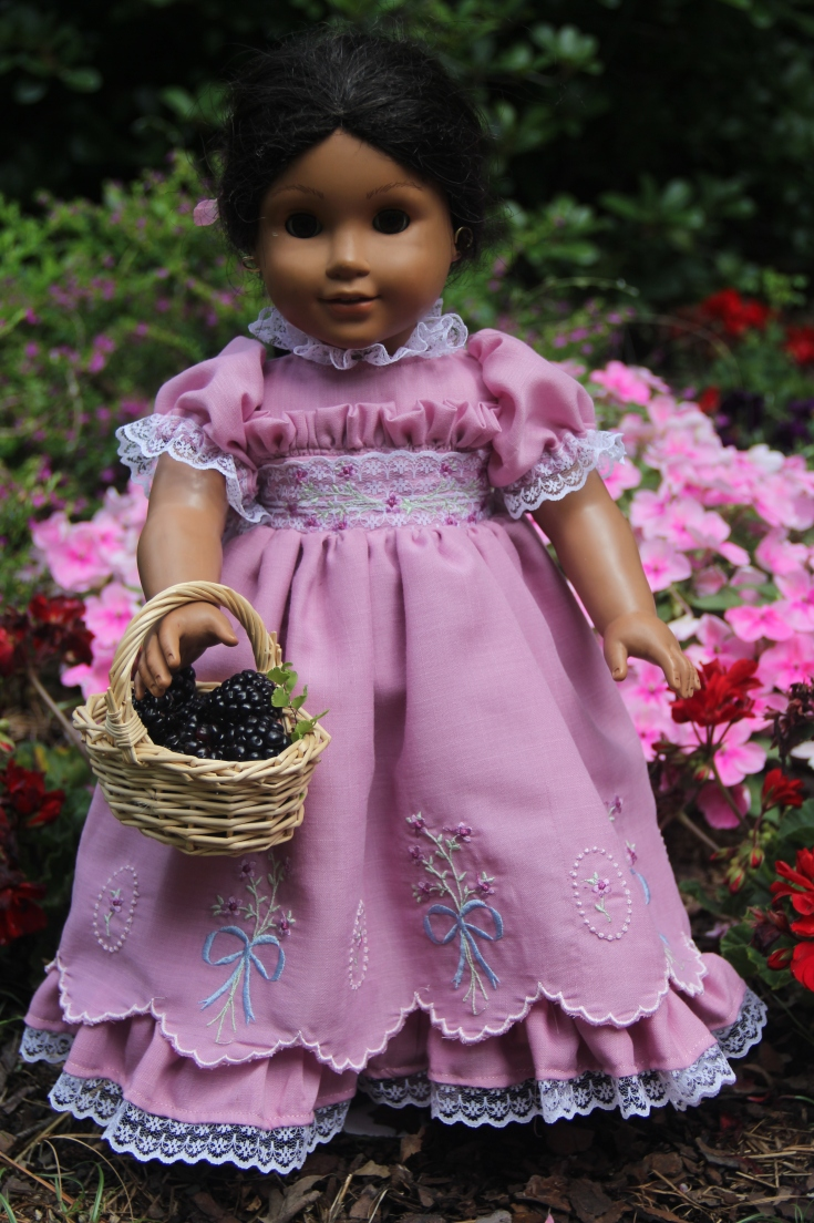 Beautiful Lillac colored embroidered Doll dress for American girl doll or any other 18' doll. Stitching with Elli design