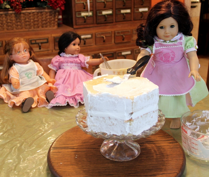 "The dolls decorate a cake! 18"" doll adventure on Stitching with Elli"