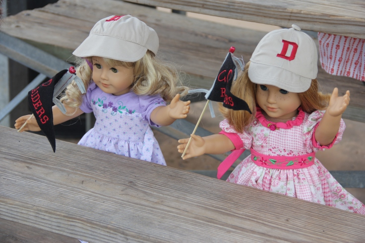 The dolls go to a baseball game- 18 in. doll adventure by stitching with Elle