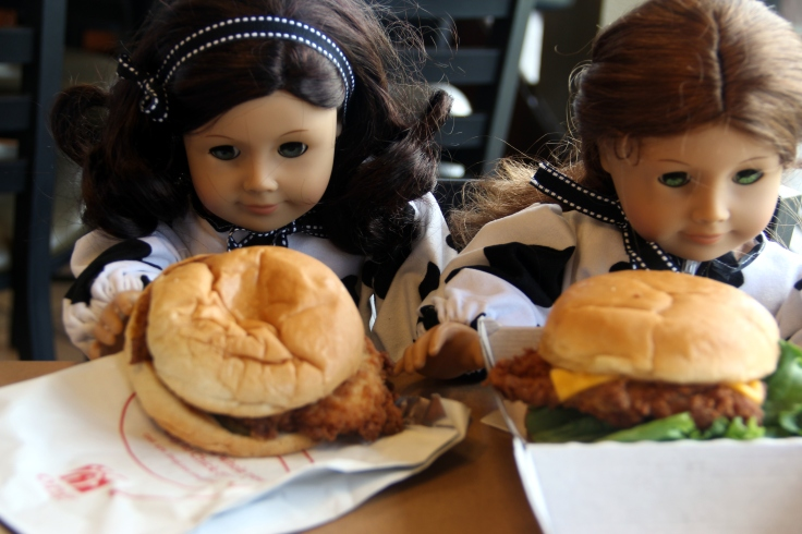 "The dolls go to chickfila Day!- 18"" doll adventures by stitching with Elli"