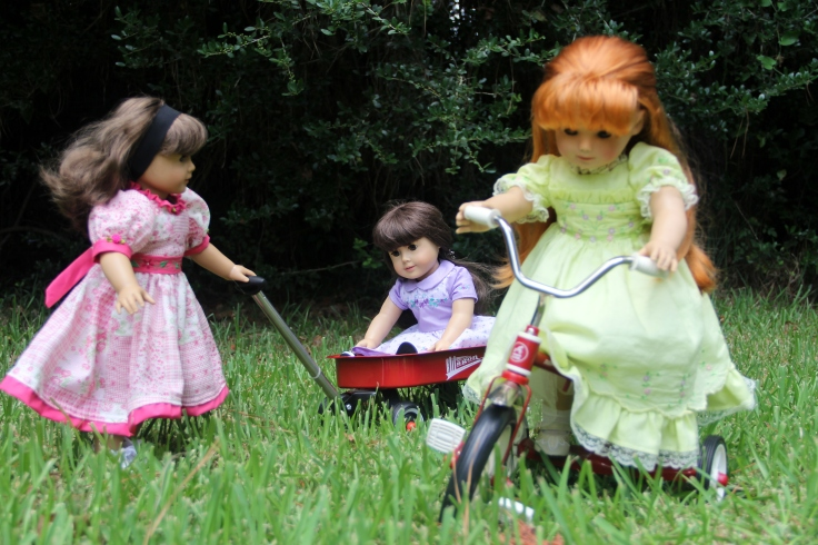 "Summer fun with a wagon and tricyle! - a 18"" doll adventure by stitching with Elli"