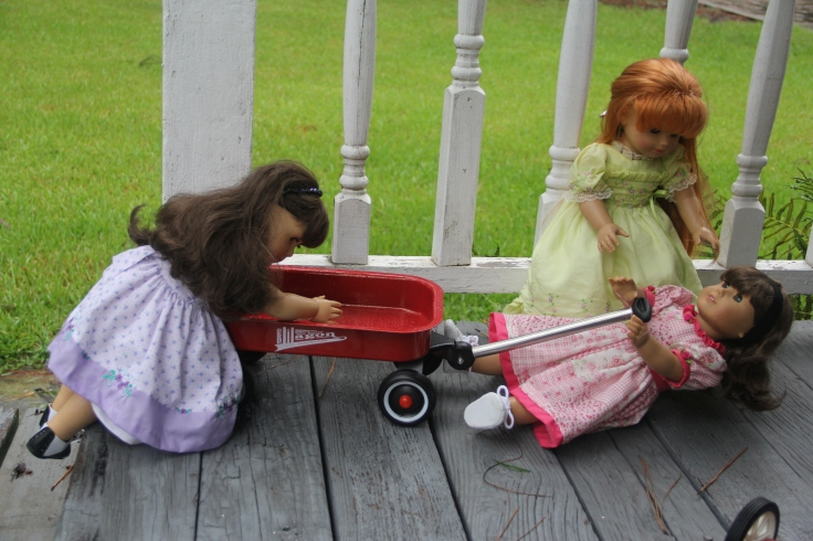 "oops! Samantha fell over when the wagon came up over the step- a 18"" doll adventure by stitching with Elli"