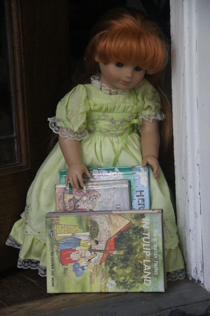 "Bonnie has books to read!!- a 18"" doll adventure by stitching with Elli"