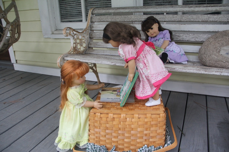 "Reading books on the porch. A great activity for a rainy day!- a 18"" doll adventure by stitching with Elli"