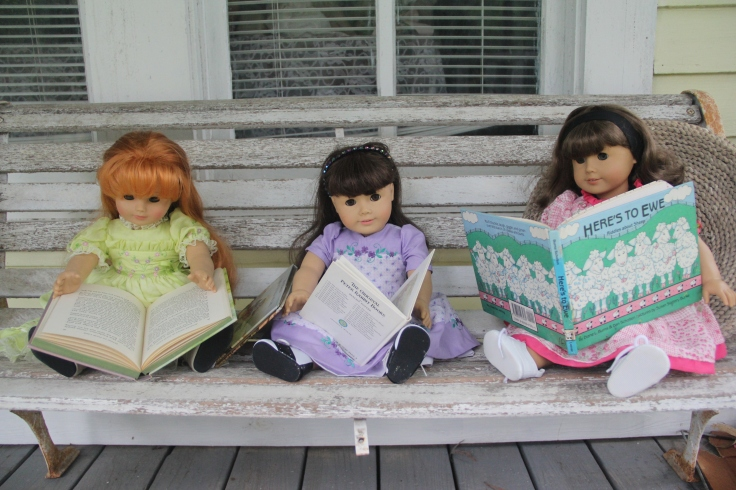 "Dolls love reading- a 18"" doll adventure by stitching with Elli"