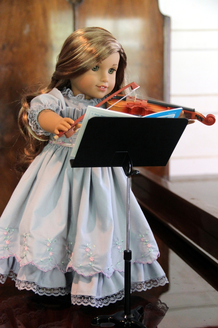 "Lea loves to play her Violin- 18"" doll adventures by stitching with Elli"