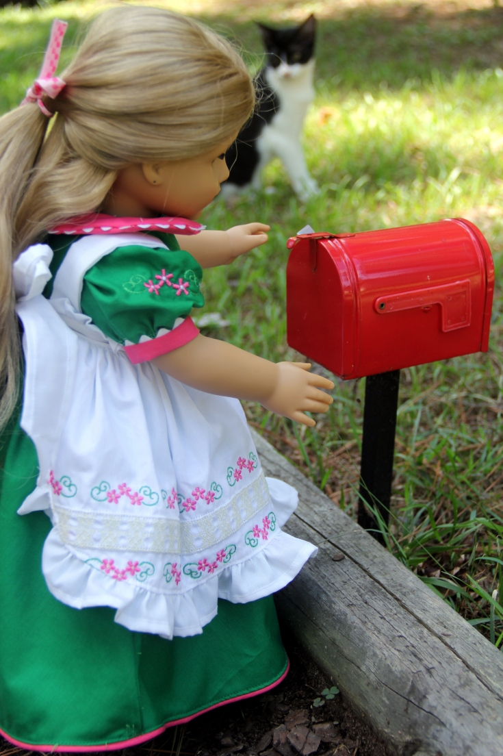 "Elizabeth is checking the mail!- a 18"" doll adventure by stitching with Elli"