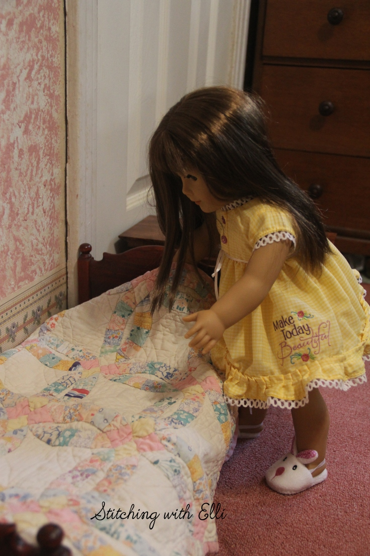 "Make the bed when you get up, it makes the day go better- a 18"" doll adventure by Stitching with Elli"