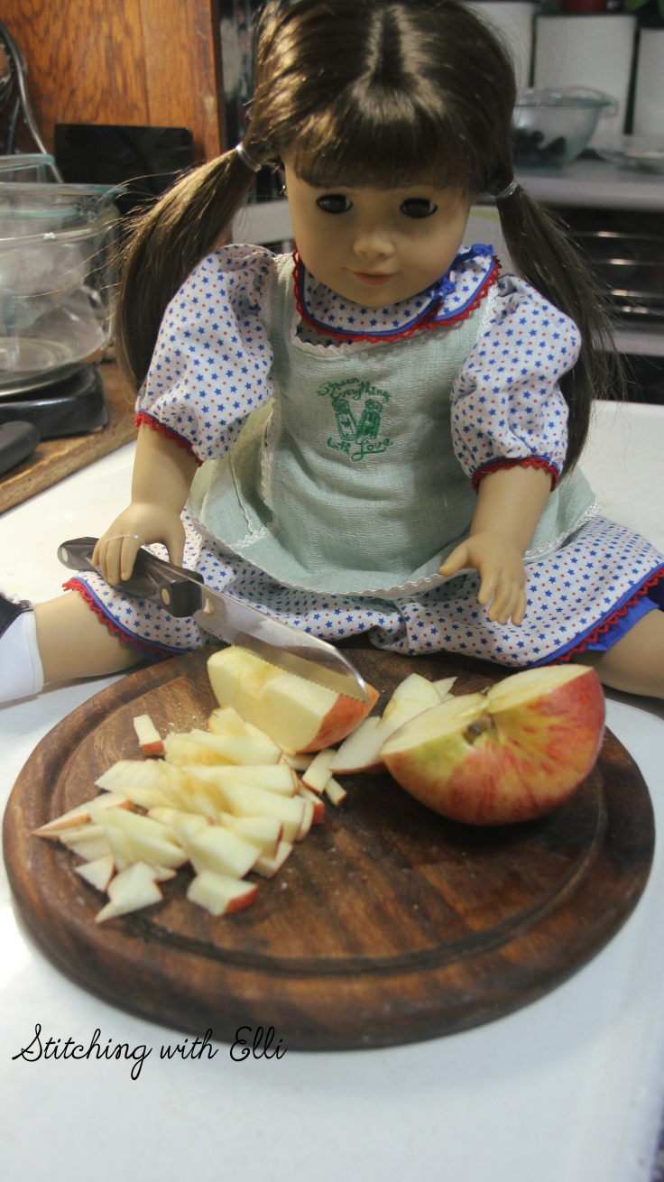 "Cutting up the apples for the breakfast- a 18"" doll adventure by Stitching with Elli"
