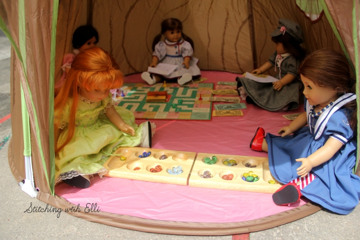 "Board game day! Felicity likes playing Mancala- a 18"" doll adventure by Stitching with Elli"