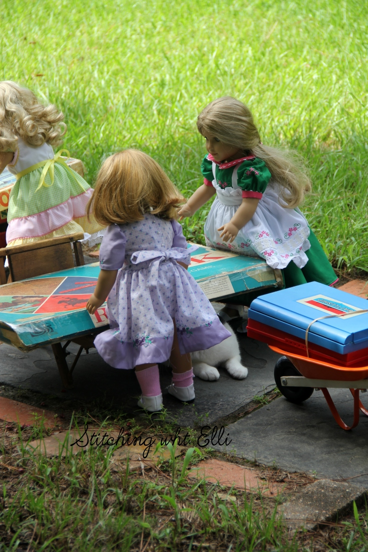 "Elizabeth and Nellie are helping move the games- a 18"" doll adventure by Stitching with Elli"
