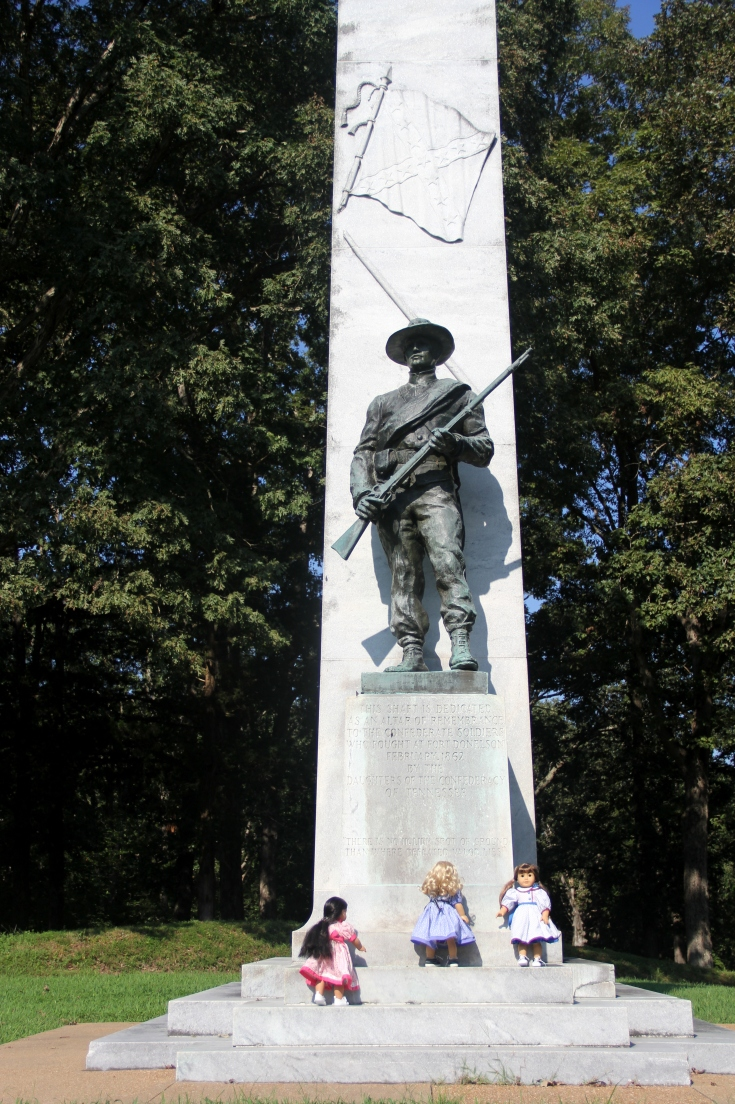"The dolls are examining the civil war monument- a 18"" doll adventure bu Stitching with Eli"