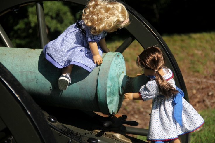 "Lanie and Bridget were inspecting the cannon to see how it worked- a 18"" doll adventure by Stitching with Elli"