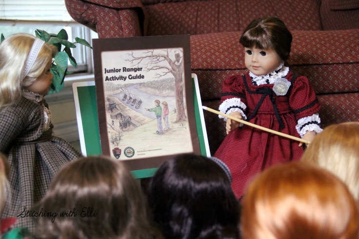"Bridget explains the merits of the junior ranger program- a 18"" doll adventure by Stitching with Elli"