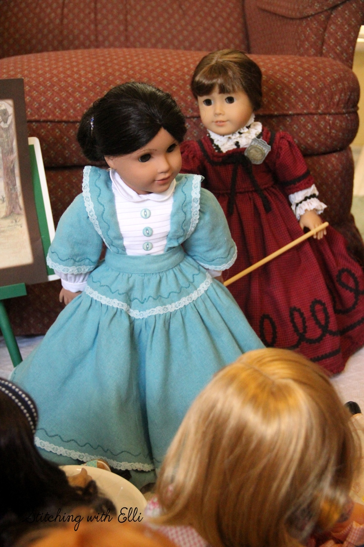 "The dolls get a history lesson- a 18"" doll adventure by stitching with Elli"