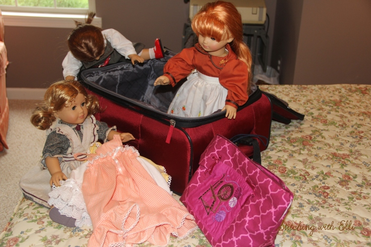 """Packing for a big adventure!- a 18"""" doll adventure by Stitching with Elli"""