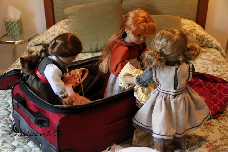 """Don't forget the nightgowns!"" Felicity carefully packed the suitcase- a 18"" doll adventure by Stitching with Elli"