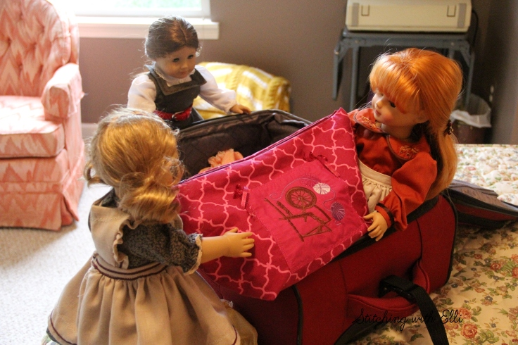 """Pack the knitting!- a 18"""" doll adventure by Stitching with Elli"""