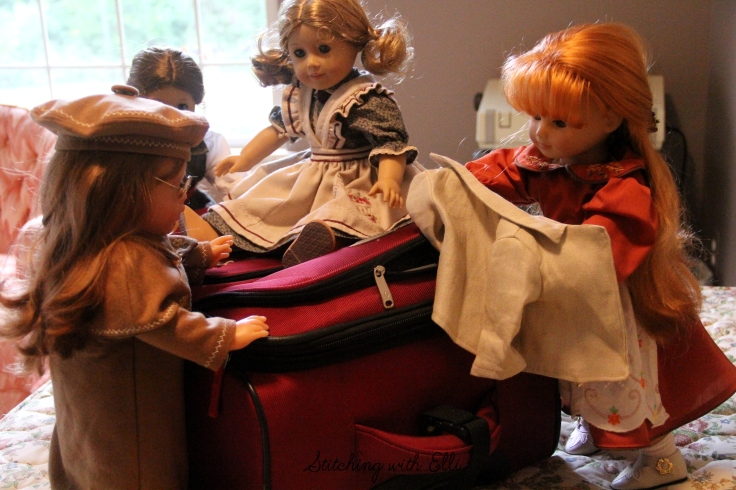 "Bonnie makes sure to pack a jacket for the cool fall weather- a 18"" doll adventure by Stitching with Elli"