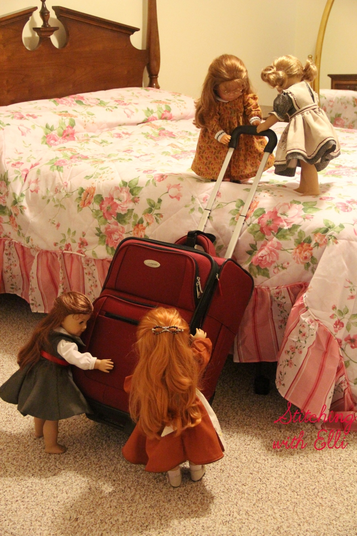 "Suitcases are hard for Dolls to manage!- a 18"" doll adventure"
