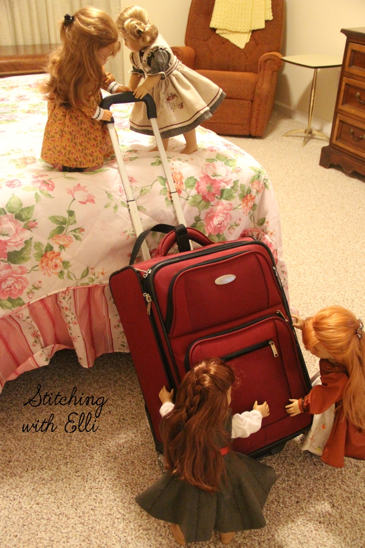 "Heave Ho! lift that suitcase up on the bed!- a 18"" doll adventure by Stitching with Elli"