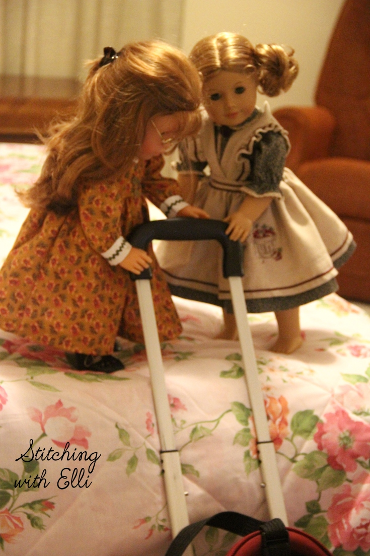 "Debbie is trying to solve a problem of how to get the suitcase on the bed!- a 18"" doll adventure by Stitching with Elli"