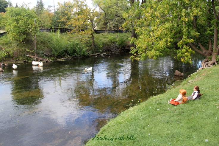 "Watching the ducks on a lazy fall day- a 18"" doll adventure by stitching with Elli"