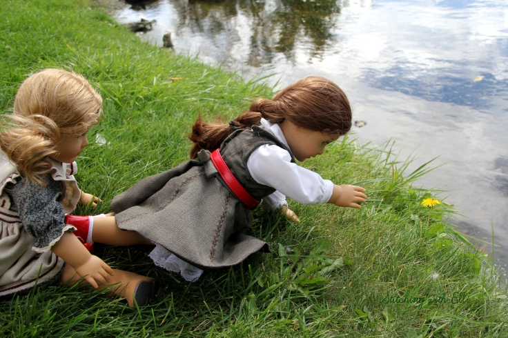 "Felicity tries to reach the flower without falling in the water!- a 18"" doll story by Stitching with Elli"