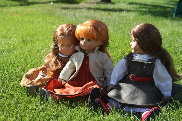 "Sitting in the grass talking is a great way to spend the day- a 18"" doll story with American girl, Corolle and Gotz dolls."