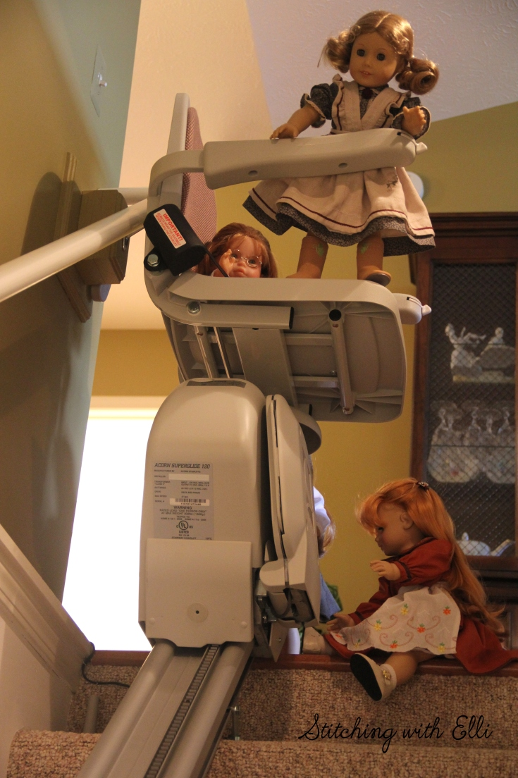 "The dolls investigate a lift chair- a 18"" doll story by stitching with Elli"