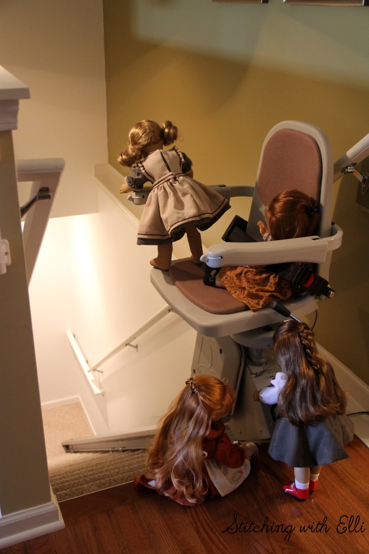 "How does this thing work? Felicity and the other dolls investigate a strange chair with a key- a 18"" doll story by Stitching with Elli"