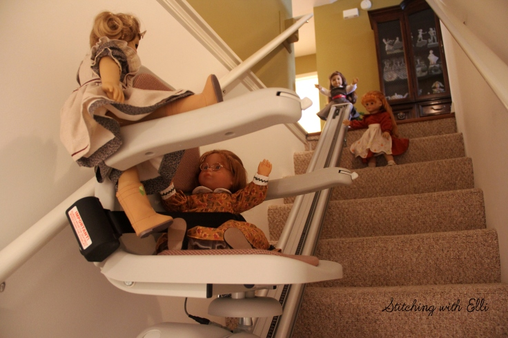 "The dolls explore a lift chair- a 18"" doll adventure by stitching with Elli"