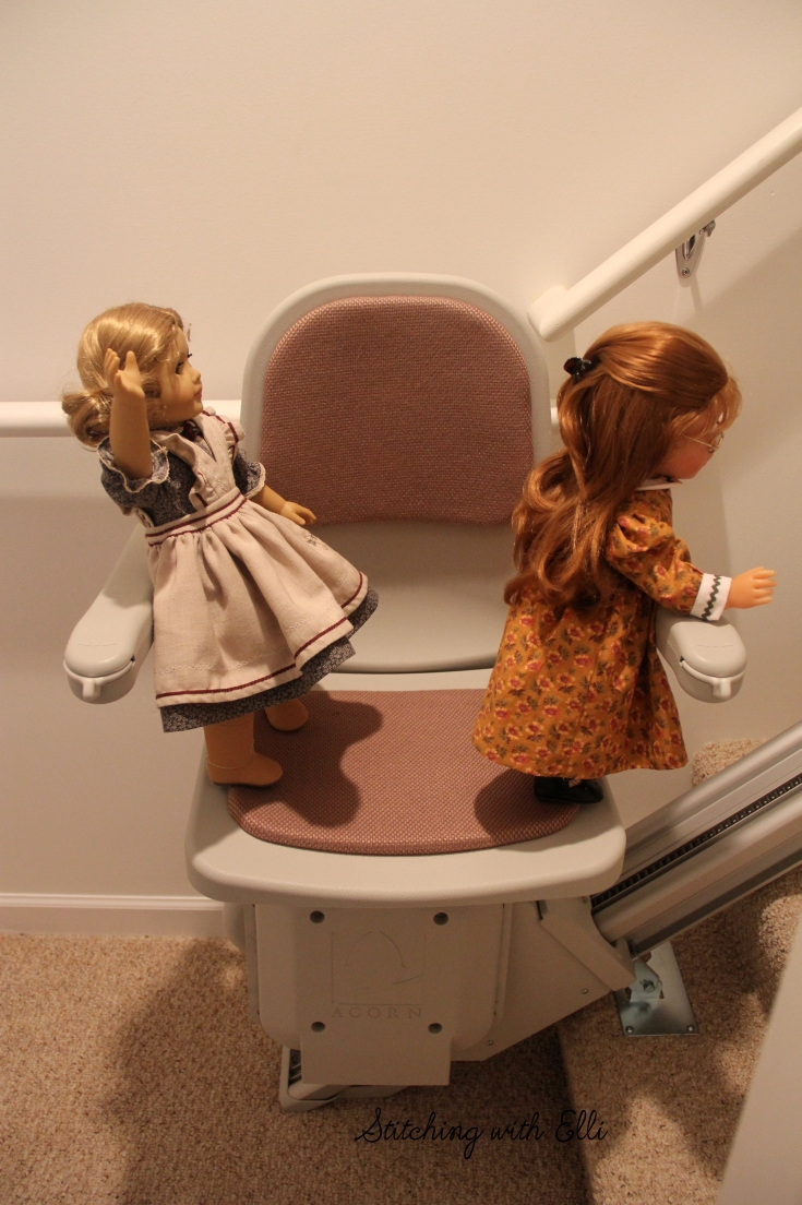 "The dolls explore the lift chair- a 18"" doll story by Stitching with Elli"