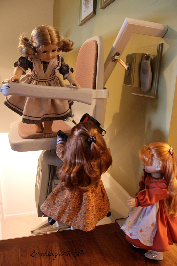 "The dolls explore the lift chair- a 18"" doll adventure by stitching with Elli"
