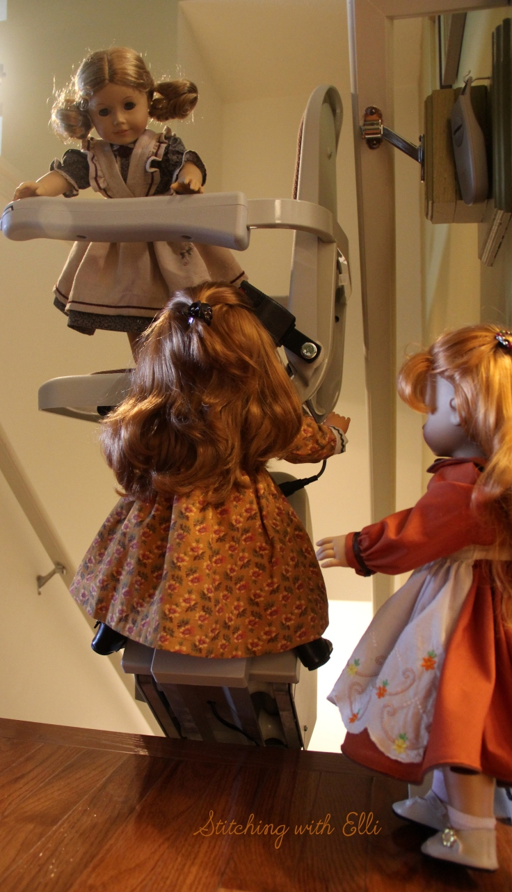 "The dolls explore the lift chair- a 18"" doll story by Stitching with Elli featuring American girl dolls."