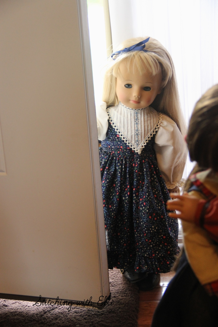 "Alice is peeking around the door anxious to meet her new friends- a 18"" doll adventure by stitching with Elli"