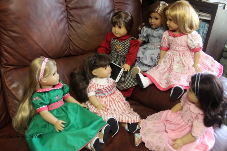 "Talking to the other dolls on the phone- a 18"" doll story by Stitching with Elli"