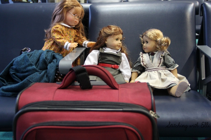 "The waiting area of the airport can be fun!- a 18"" doll photostory with american girls by Stitching with Elli"