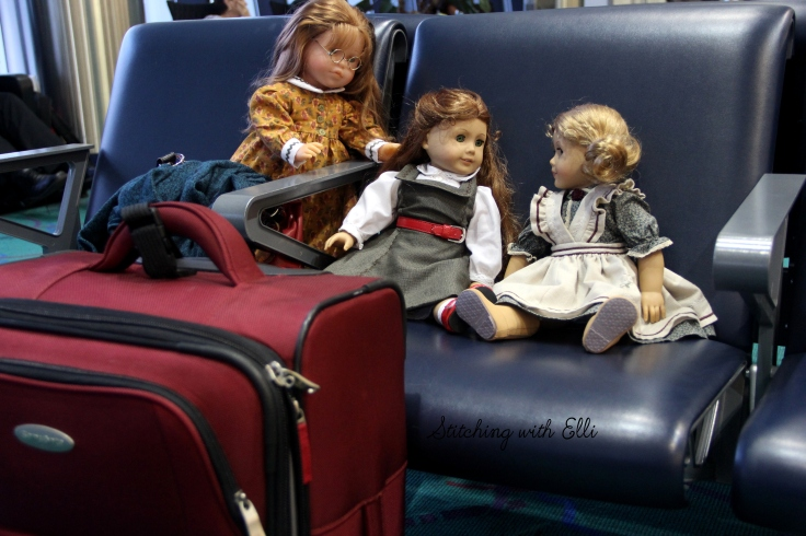 "Chatting in the arport while waiting for their plane- a 18"" doll adventure by Stitching with Elli"