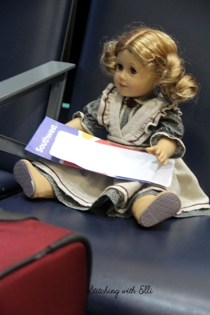 "Debbie has her ticket! all ready to fly home- a 18"" doll photostory by stitching with Elli"