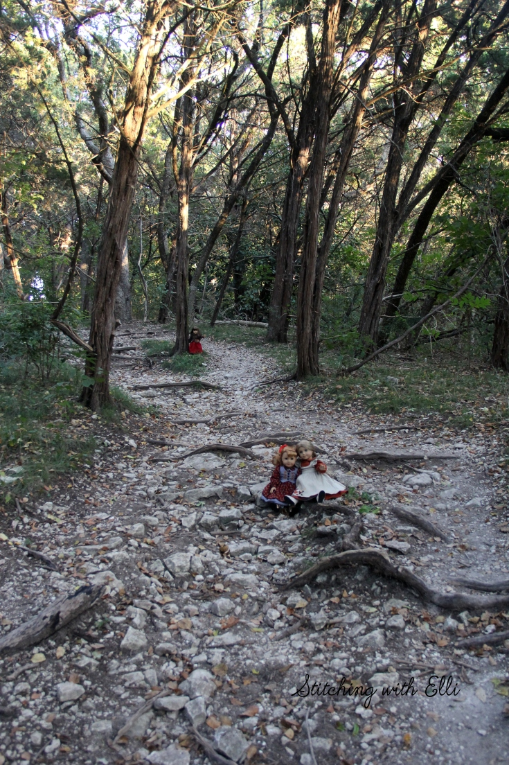 "Hiking in Waco Texas with american girls- a 18"" doll photo story by Stitching with Elli"