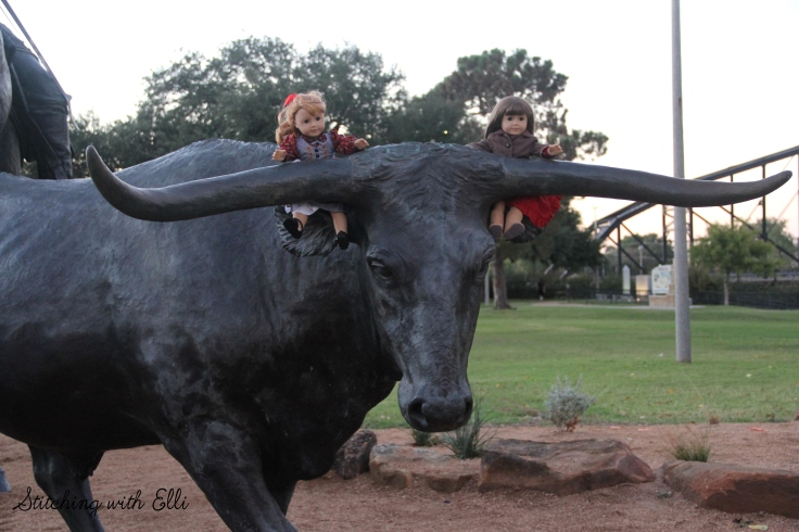 "Herd those cows!! the dolls are having fun exploring waco Texas- a 18"" doll photo story by Stitching with Elli"