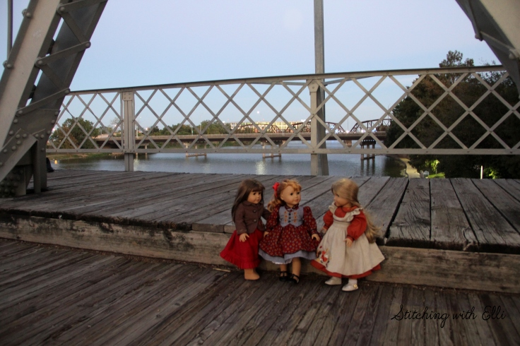 "Watching the sunset on the walking bridge in Waco Texas- a 18"" doll photo story by Stitching with Elli"