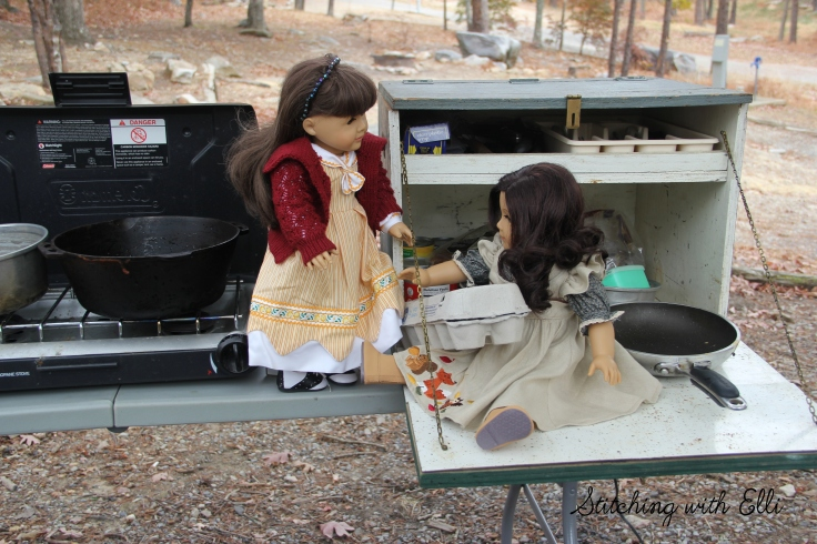 "The dolls go camping in a vintage camper- a 18"" doll story with american girls by stitching with Elli"